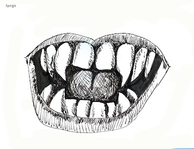 Vampire Fangs rendered in Pen and Ink by Ana Tirolese