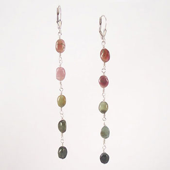 Watermelon Tourmaline Gemstone Nugget Drop Earrings (E067)