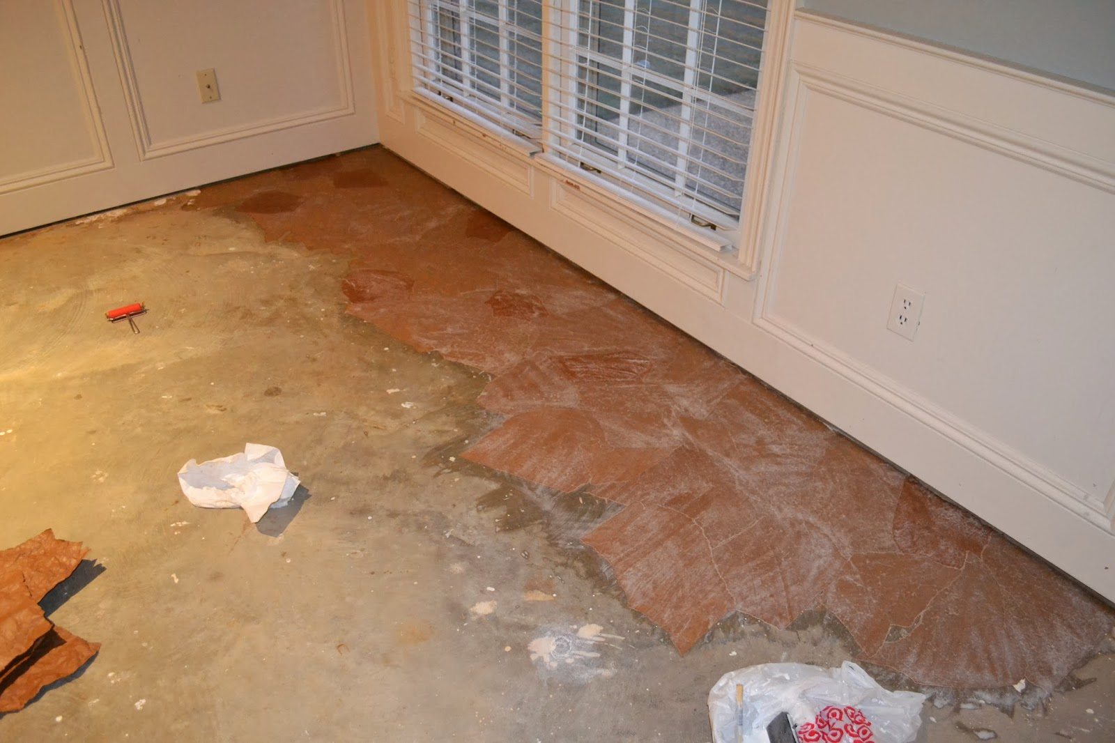 Ruby Bloom Brown Paper Bag Floor Over Concrete Subfloor
