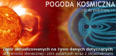 Przejdź do podstrony POGODA KOSMICZNA - zbiór aktualizowanych na żywo danych dotyczących aktywności słonecznej i geomagnetycznej, w tym intensywności i zasięgu występowania zórz polarnych wraz z objaśnieniami na temat ich interpretacji.