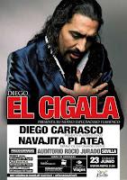 El 23 de junio de 2012 Diego el Cigala, Diego Carrasco y Navajita Plateá en Sevilla en el Auditorio de la Isla de la Cartuja