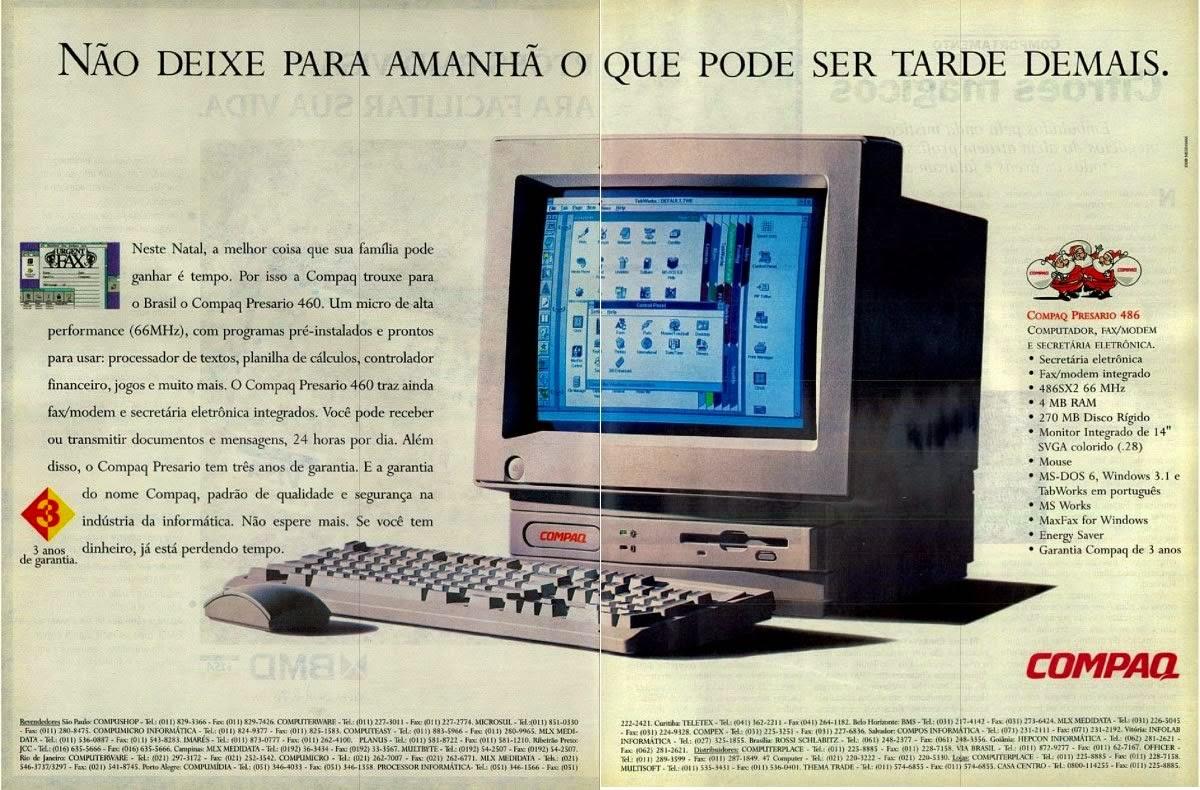 Propaganda do computador Compaq, em 1994: início dos computadores pessoais.