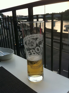 Time for a quick beer, overlooking the Thames at Barnes, London
