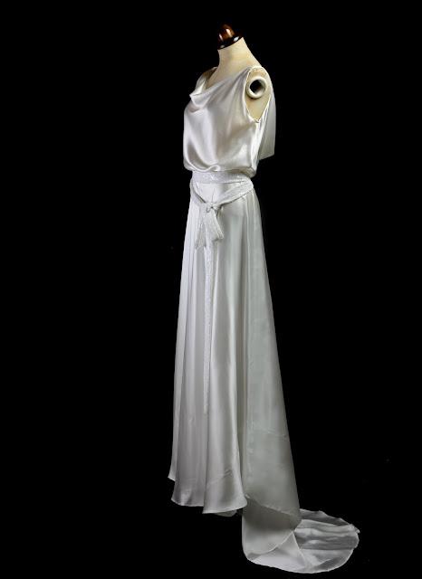 Alexandra King bias cut satin 1930s gown