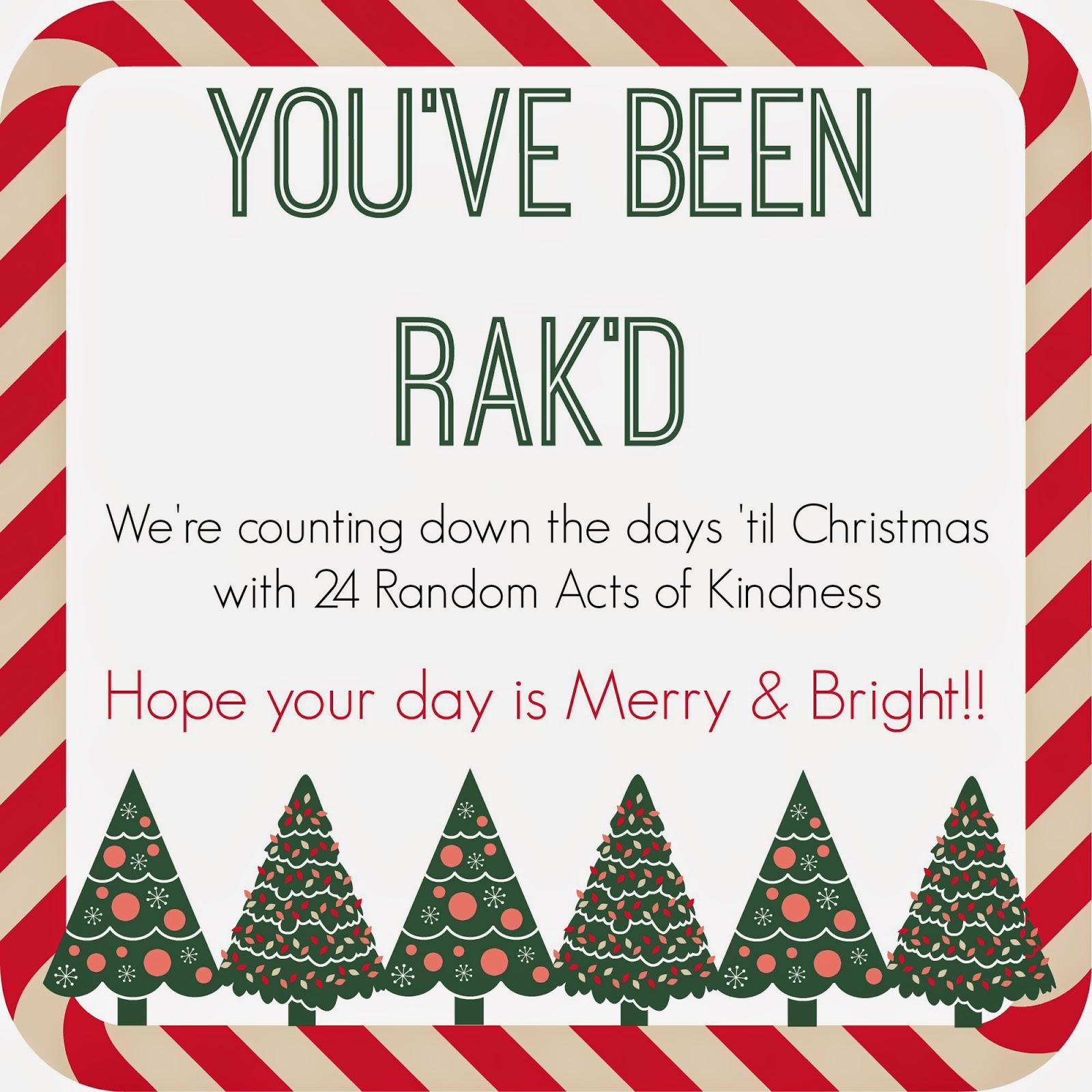 Random Acts of Kindness Advent Calendar Printable  #RAK #Advent #Kindness #Christmas #Printable