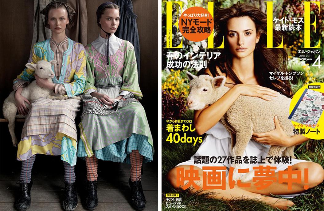 via fashioned by love | Vogue Italia February 2008 (photography: Steven Meisel, styling: Karl Templer) | Penelope Cruz Elle  Japan April 2011