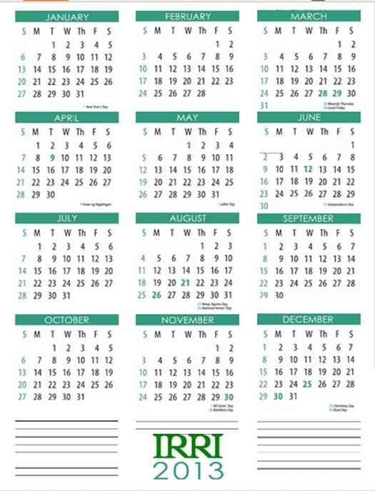 Us Government Wall Calendar   Calendar Template 2016