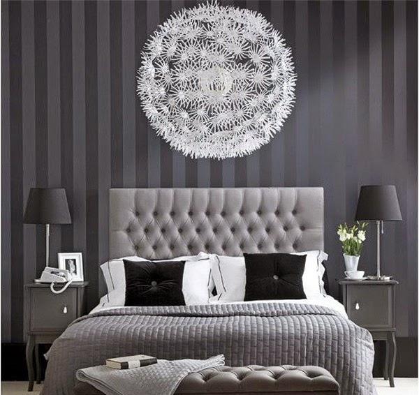 Decoration Chambre A Coucher Avec Papier Peint - Photo déco chambre d'adultes revêtement papier peint