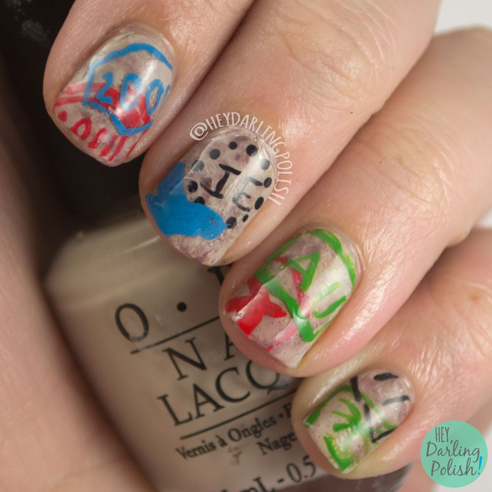 nails, nail art, nail polish, travel, stamps, travel stamps, hey darling polish, theme buffet, decals,