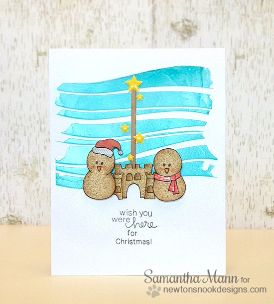 Snowman Beachy Christmas Card by Samantha Mann for Newton's Nook Designs - Flaky Friends and Newton's Summer Vacation Stamp Sets