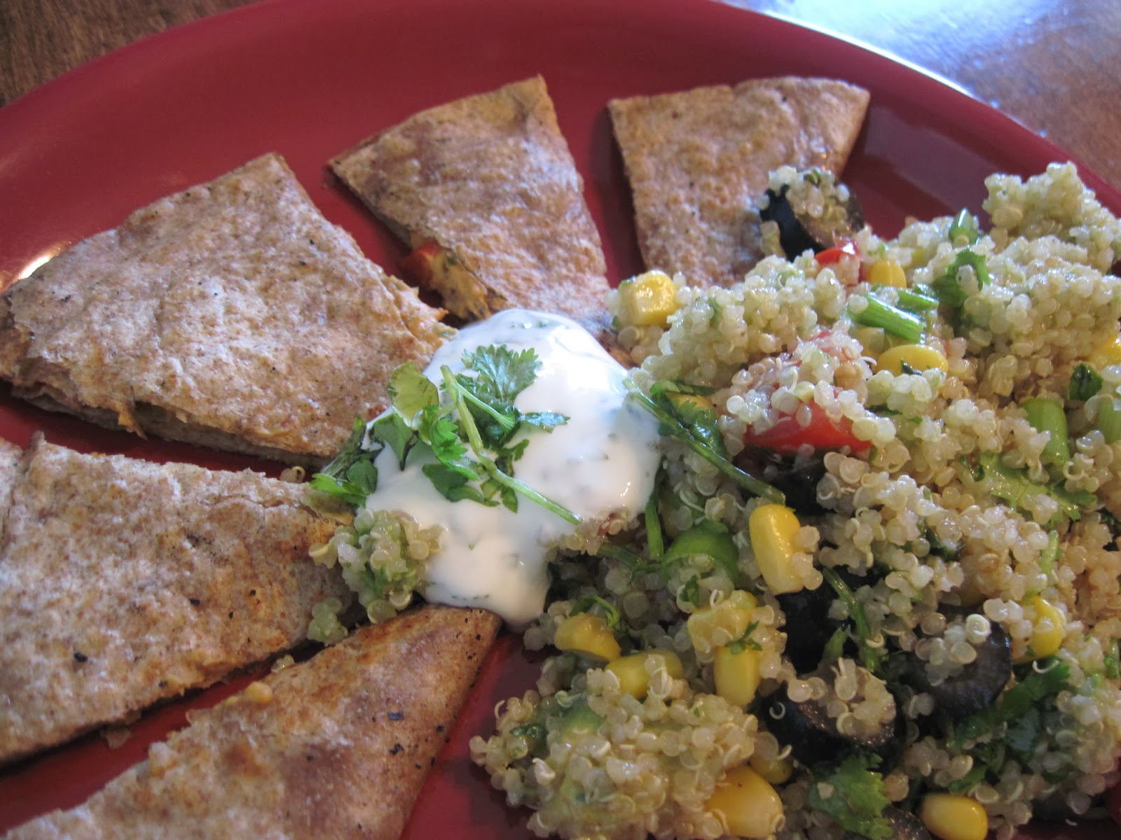 Quesadillas with Quinoa Salad and Lime Cilantro Sour Cream