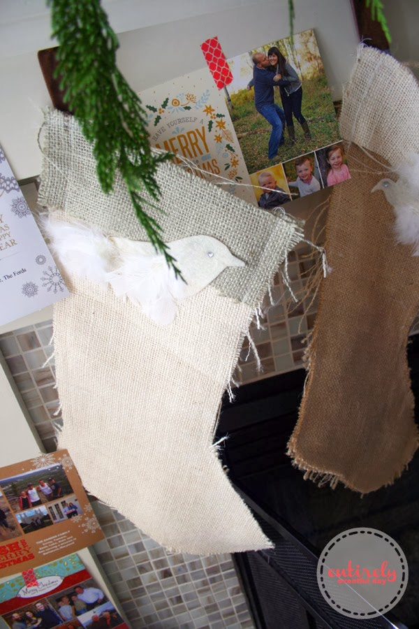 DIY Burlap Christmas Stockings. Love the birds! #chirstmasstockings #stockings