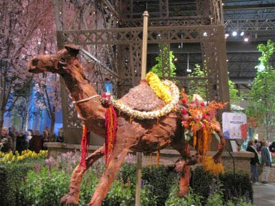 carousel camel made of flowers