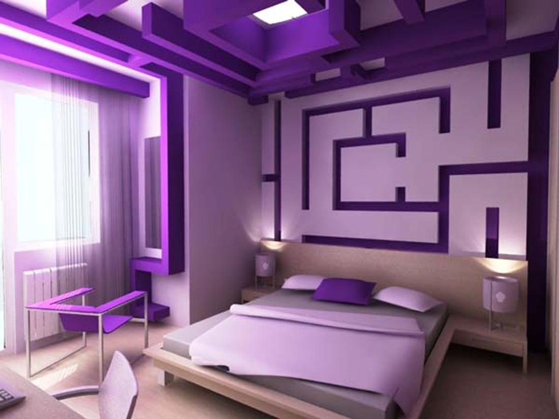 Simple ideas for purple room design dream house experience for Violet bedroom designs