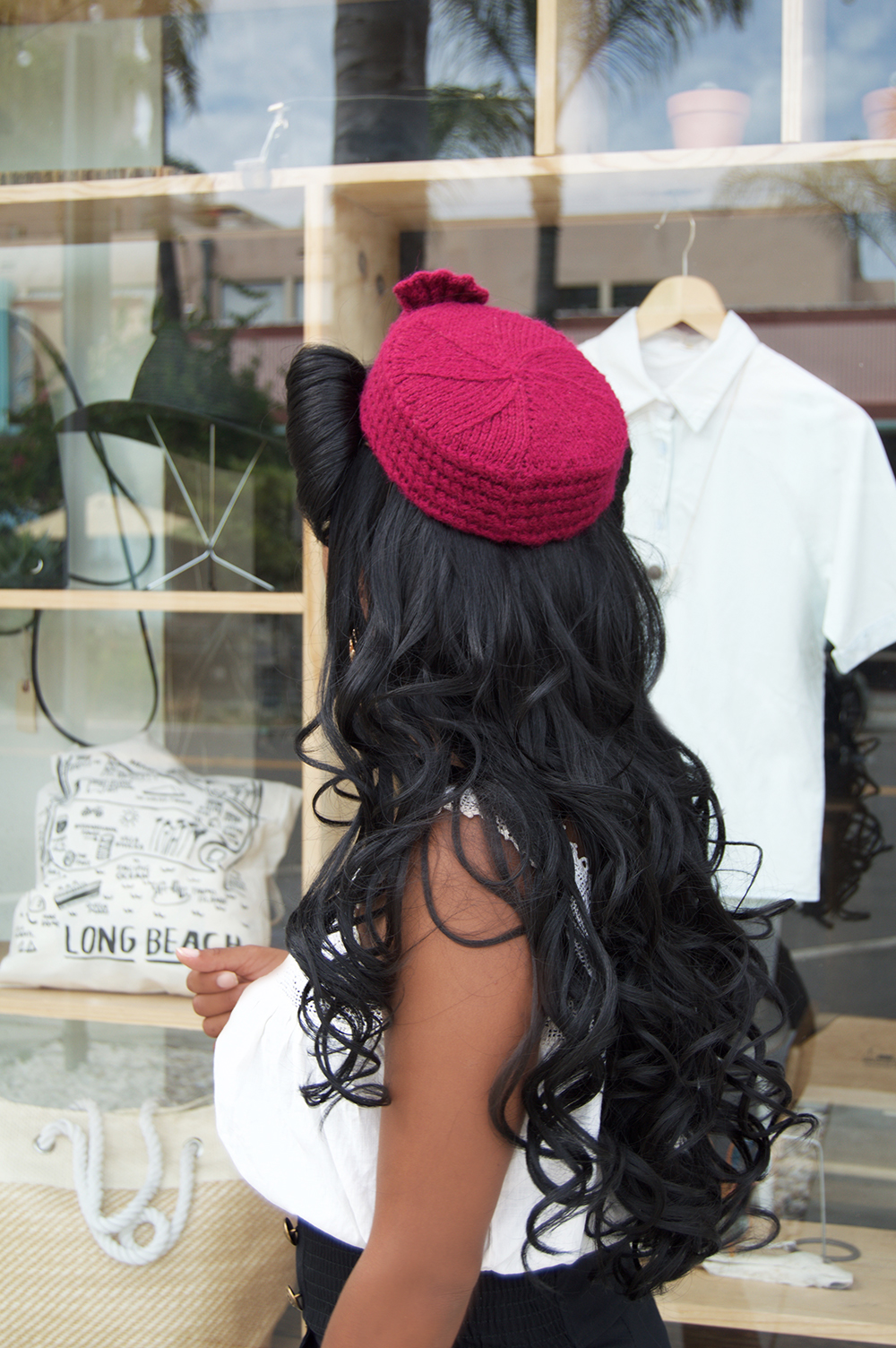 View of the Angelina Hat in Fuchsia by White Purls