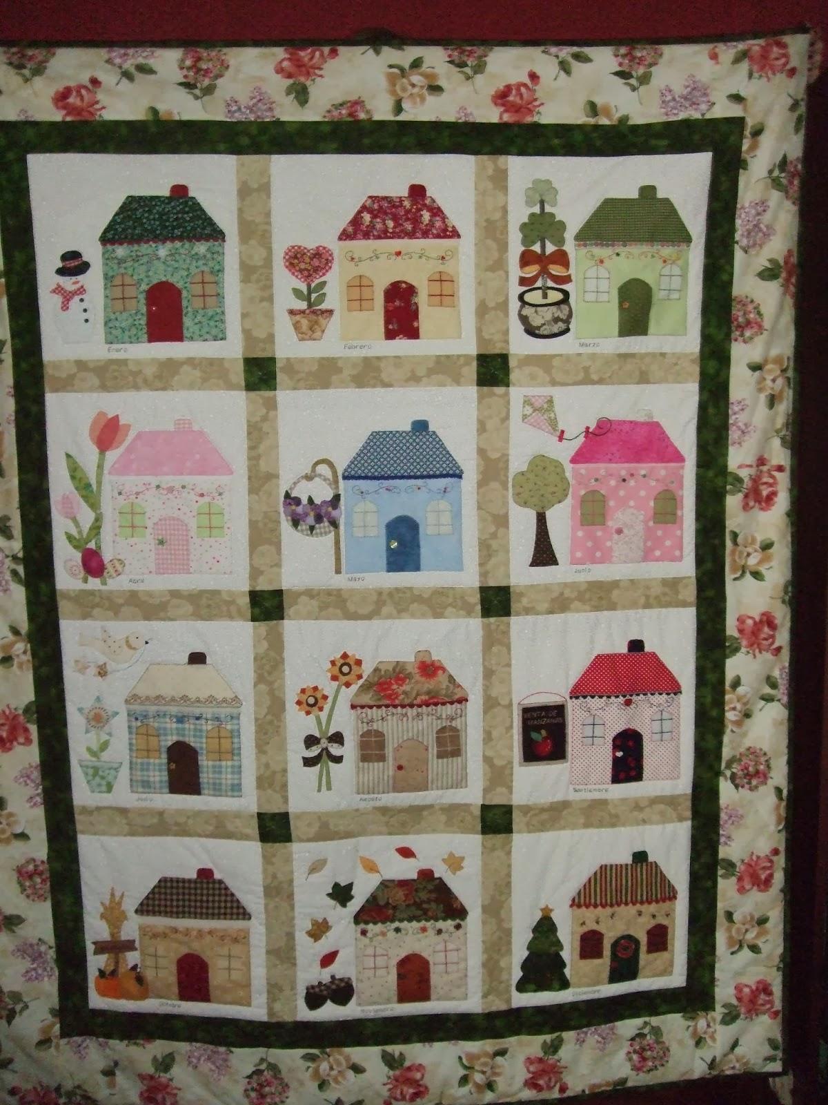 El gorri n laborioso quilt casitas shabby fabrics - Casas de patchwork ...