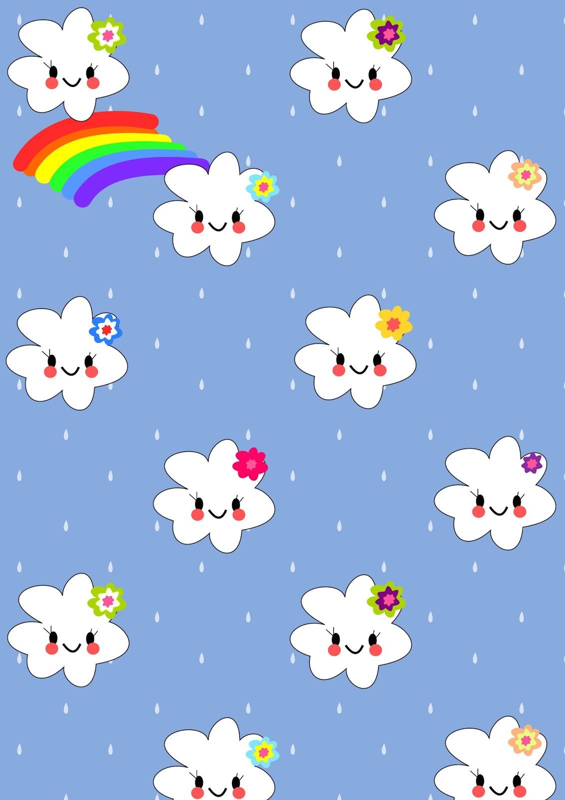 Scrapbook paper kawaii - Free Digital Kawaii Rainbow Scrapbooking Paper In Kawaii Style For Kids Freebie