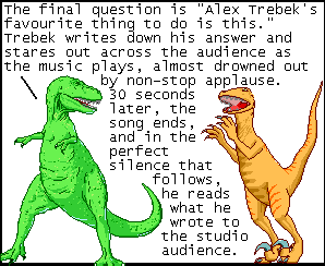 panel from Dinosaur Comics, Alex Trebek in the last episode ever