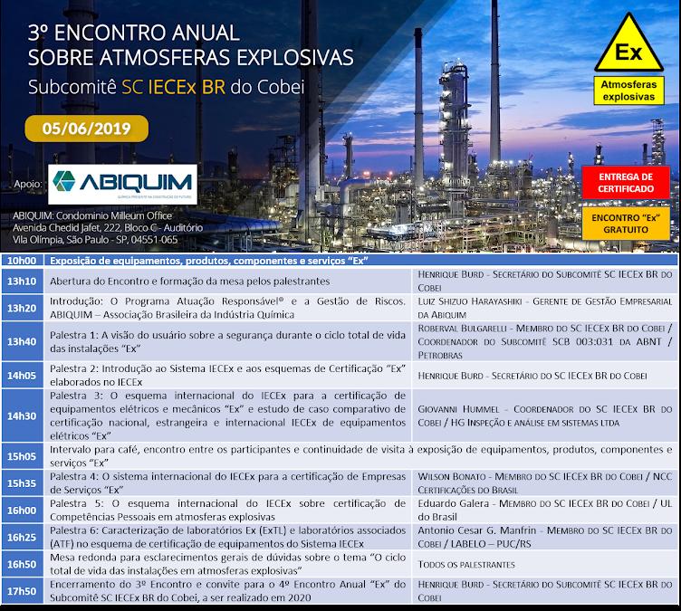 3º Encontro anual sobre atmosferas explosivas do Subcomitê SC IECEx BR do Cobei - ABIQUIM - 05/06/2