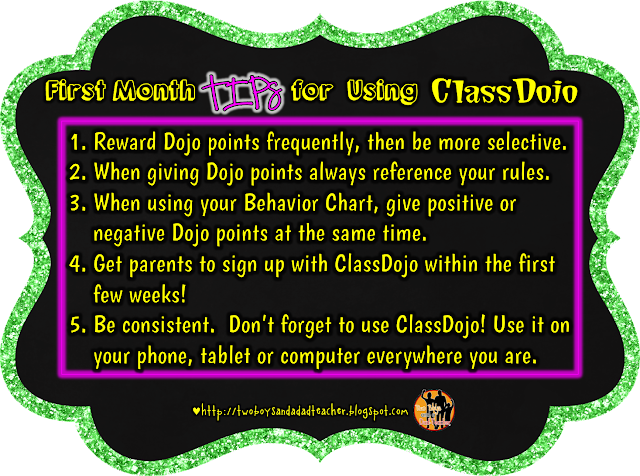 First Months tips for using ClassDojo Chart