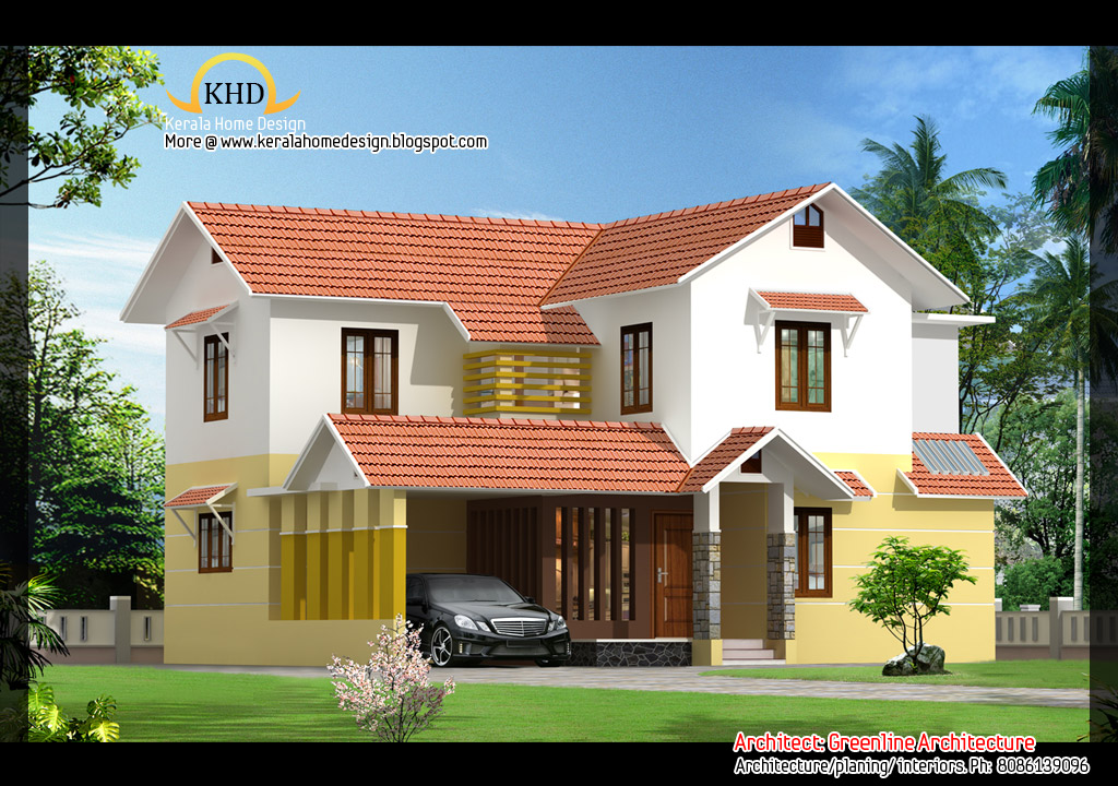 2 beautiful villa elevations kerala home design and for Beautiful kerala home design