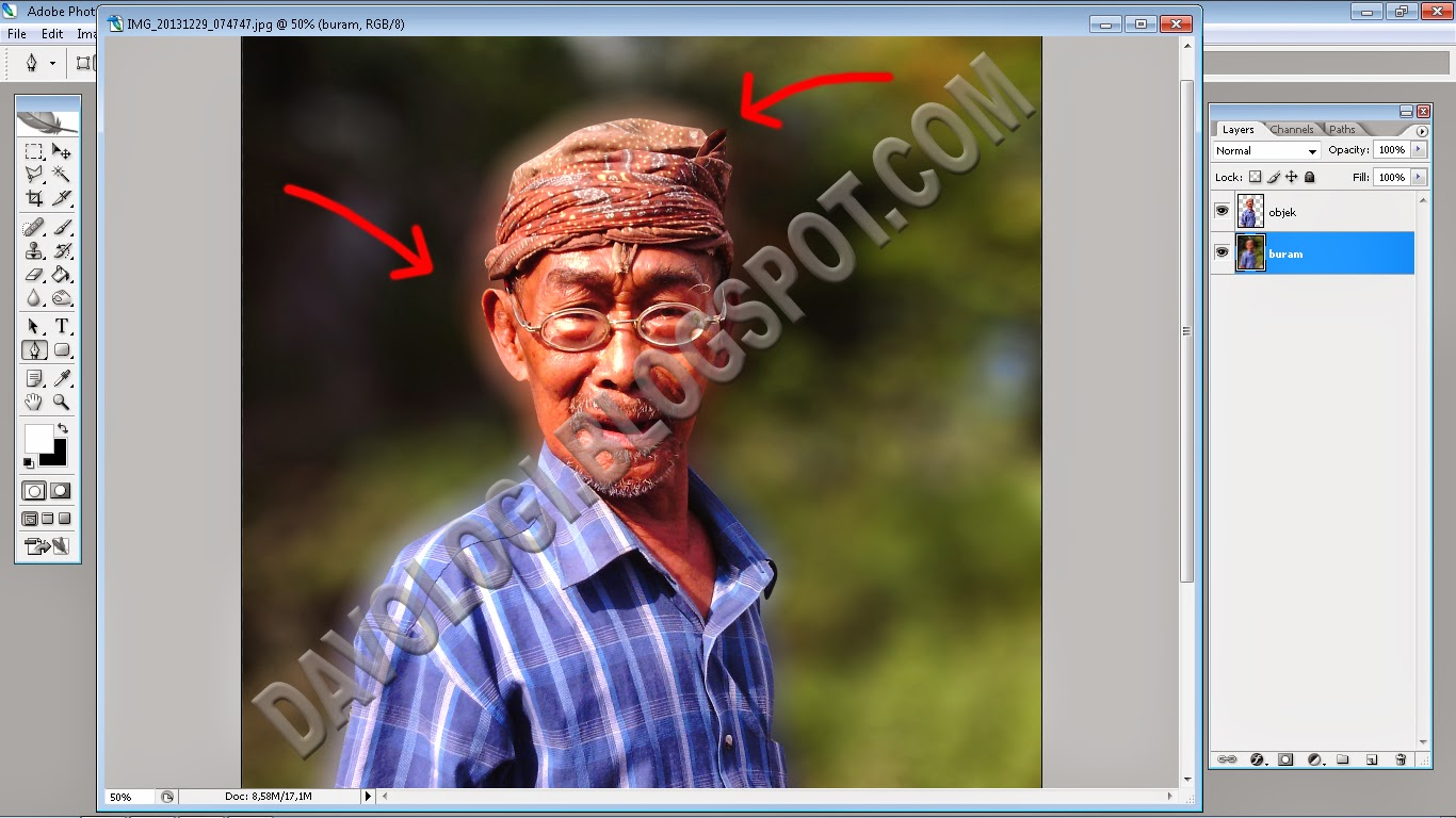 Menghapus efek halo di Photoshop