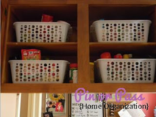 Kitchen cabinet home organization project using dollar store bins