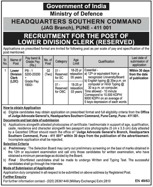 Headquarters Southern Command Pune Jobs 2015 For LDC Posts