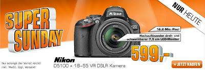 Digitale Spiegelreflexkamera Nikon D 5100+18-55mm im Saturn Super Sonntag für 599 Euro