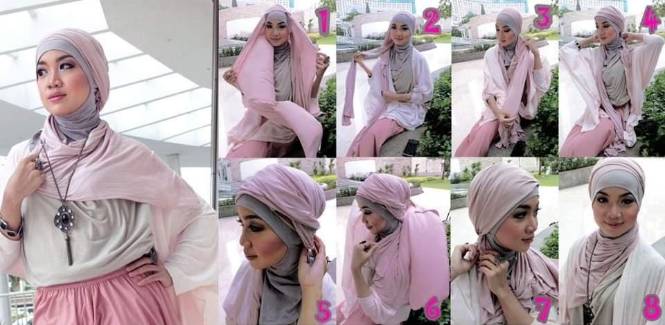 ... model pashmina untuk kreasi jilbab ini gunakan pashmina dengan kain