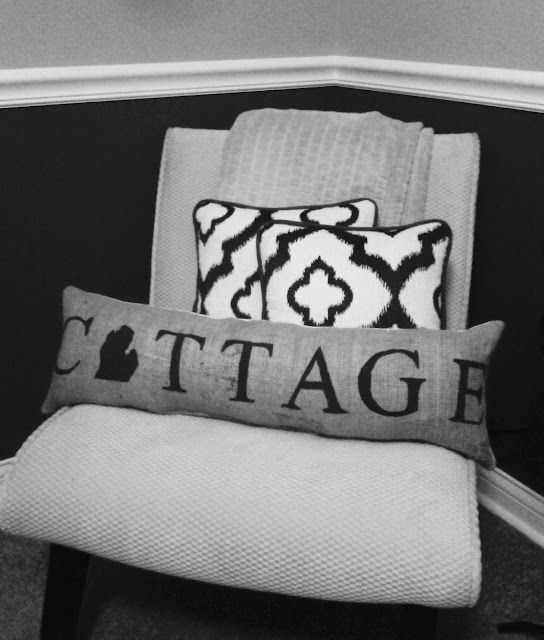Custom Michigan Cottage Repurposed Burlap Pillow  - linaandvi