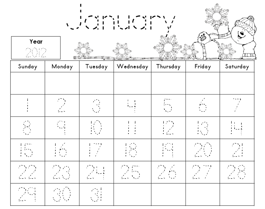 Daily Calendar Journal Kindergarten : Kindergarten january traceable calendar search