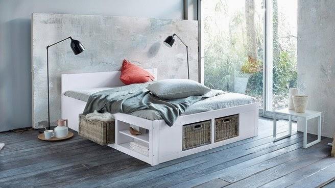 Platform Storage Bed Frame With Wicker Drawers