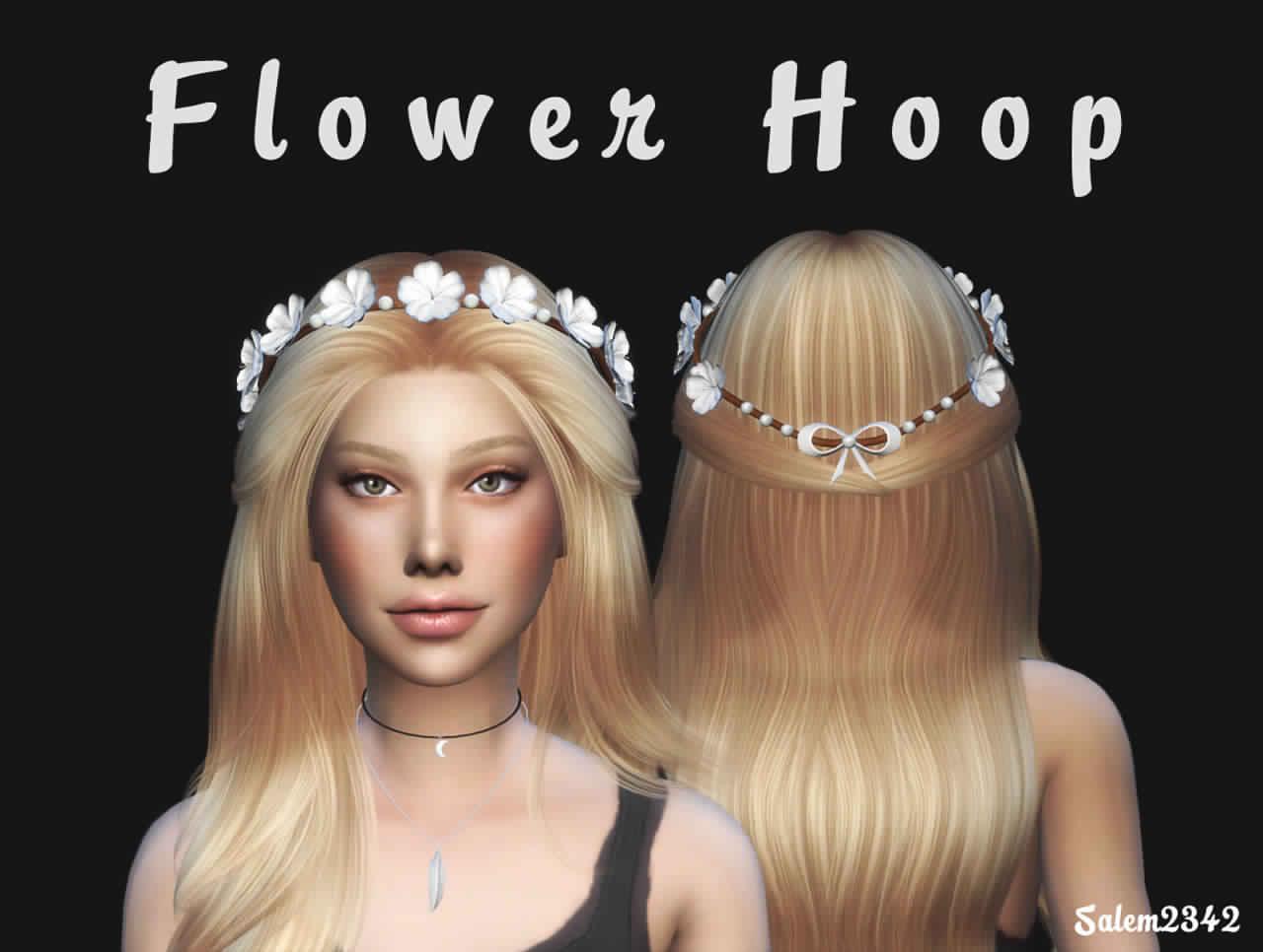 The sims 4 hair accessories - Flower Hoop By Salem2342