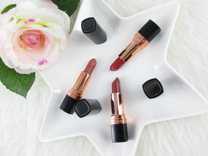 Review, Swatches: AVON Ultra Color Lipstick - Golden Nude - Sparkling Bronze - Burnished Red
