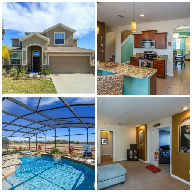 Davenport, FL home with pool, media room. Granite counters, tile and carpent floors