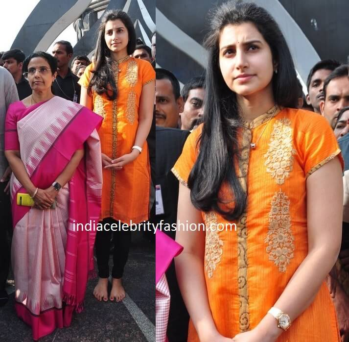 Balakrishna Daughter Brahmini in Yellow Kurta