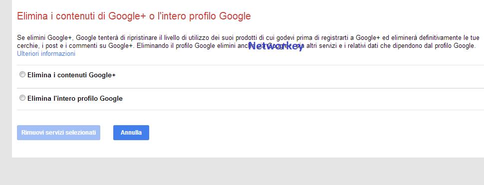 Cancellare Account Google Plus