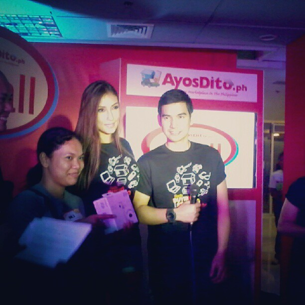 The surprise guests of the night, Solenn Heussaff and John Medina with the lucky winner  of the Fuji Polaroid Camera, MJ