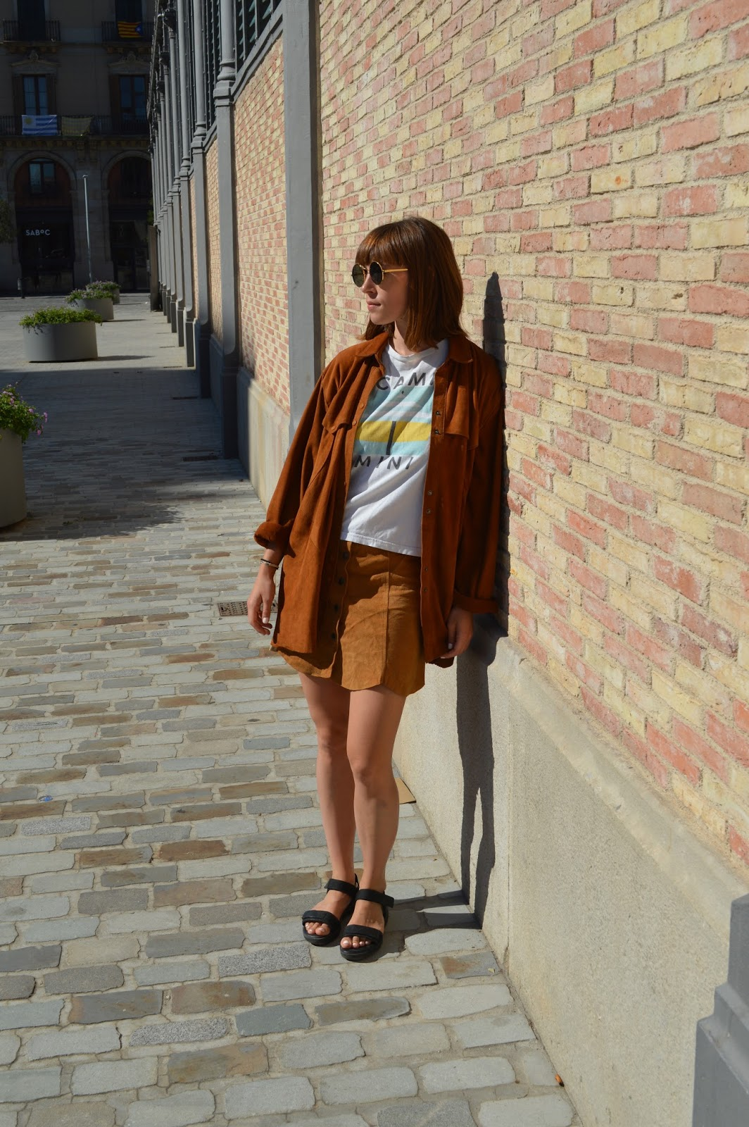 Double suede, seventies 70s trend, button down suede skirt and shirt