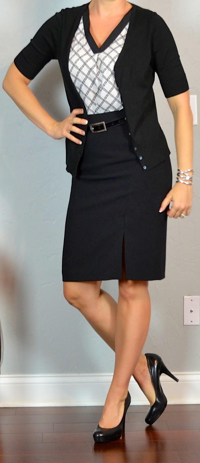 Outfit post black pencil skirt black u0026 white print blouse black cardigan black pumps ...