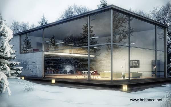 Imagen del renderizado de un proyecto de casa de cristal