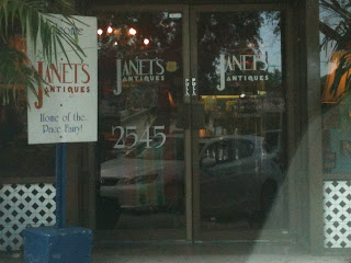 Outside of Janet's Antiques.