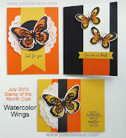 Stampin' Up! Watercolor Wings card kit ~ Stamp of the Month Club by Julie Davison www.juliedavison.com/clubs