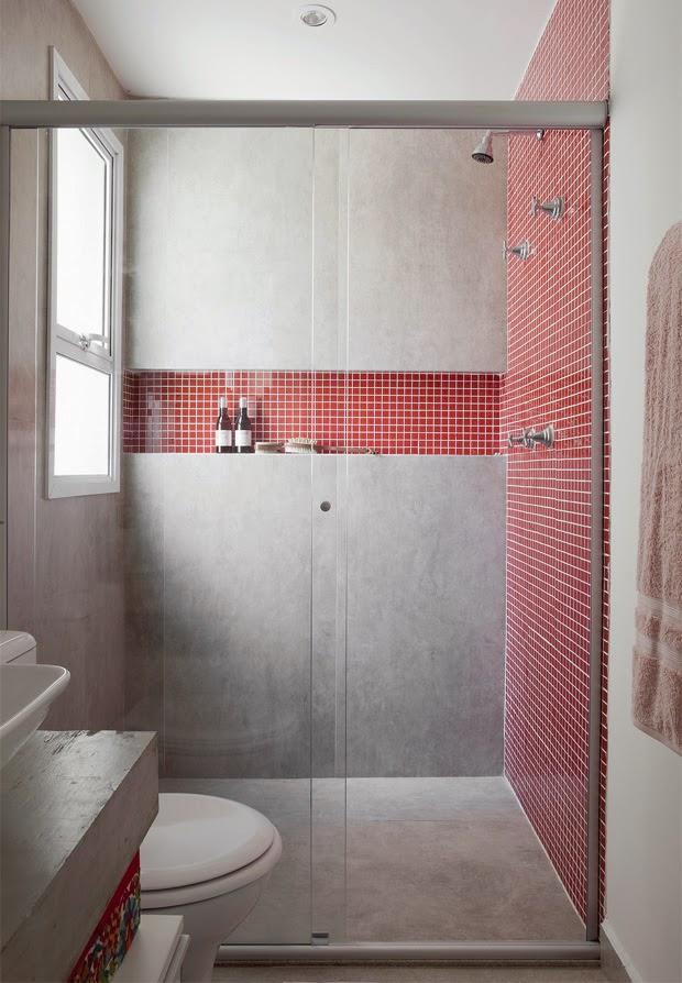 blog de decoração  Arquitrecos Banheiros + ventilados =  revestimentos -> Banheiro Pequeno Decorado De Vermelho