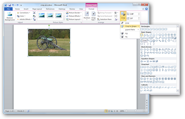 how to cut images on microsoft word