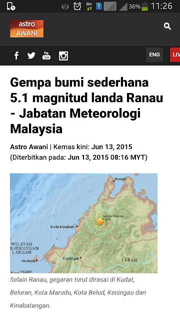 Gempa Bumi 5.1 skala ritcher di Ranau hari ini