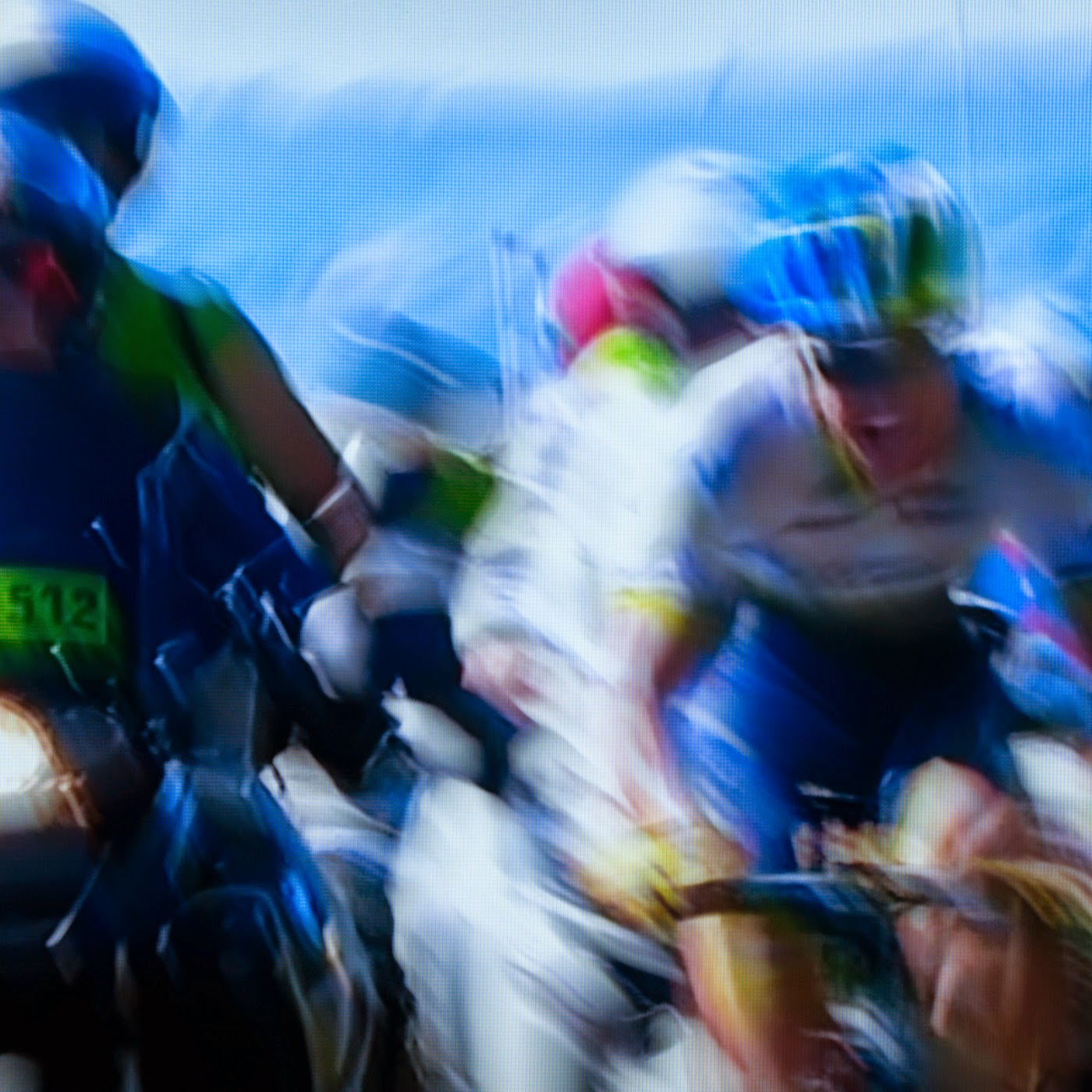 le tour de france, motion blur, blur, abstract, abstraction, tim macauley, photographic art, you won't see this at MoMA, appropriation, found imagery, le tour 2014, tv footage, portrait, timothy Macauley, the light monkey collective, grand cycling tour, team orica green edge