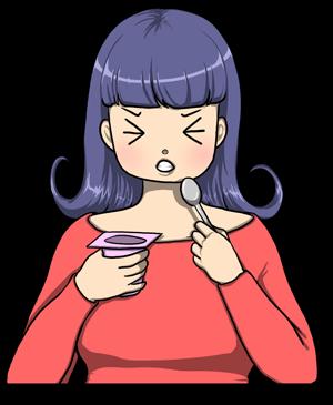 fille mange yaourt acide