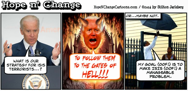 obama, obama jokes, political, cartoon, biden, isis, isil, manage, hope n' change, hope and change, stilton jarlsberg, conservative